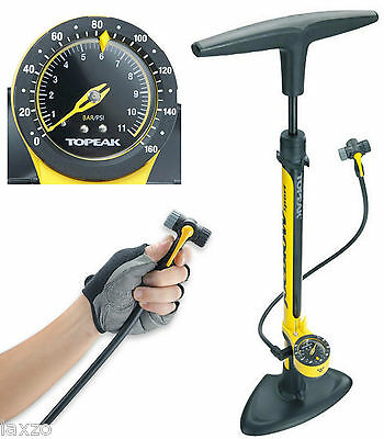 Topeak Joe Blow Sport II Bike Floor Pump Black Yellow Twin Head Presta Schrader
