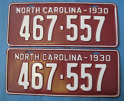 1930 North Carolina license plates Matched pair - Professionally Restored