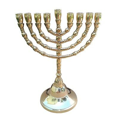 Hanukkah Jewish Chanukah Menorah  Israel Vintage Brass Chanukah Candle Holder