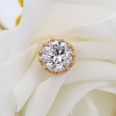 """9ct 9k Yellow """"GOLD FILLED"""" Ladies  White Stone Stud Earrings. 9mm """"Lovely Gift"""""""