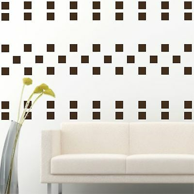 """4"""" Set of 100 Brown Squares Shape Wall Decal Vinyl Sticker Wall Pattern Decor"""