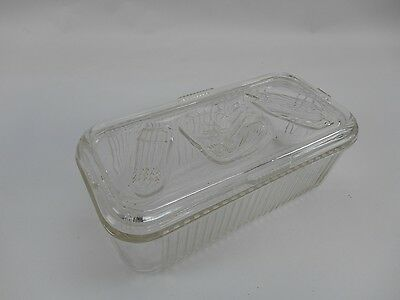 "Vintage 8"" X 4"" Federal Glass Refrigerator Dish with Vegetable Embossed Lid"
