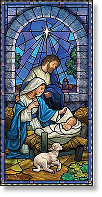Church Banner Stained Glass Nativity Scene