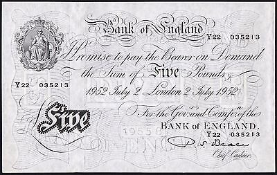 B270 BEALE 1952 WHITE £5 NOTE * Y22 035213 * gEF *
