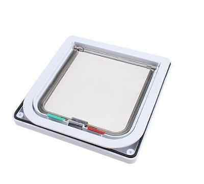 Cat Door Flap 4 Way Magnetic Lockable Dog Cat Pet Safe Size White Small Size exp