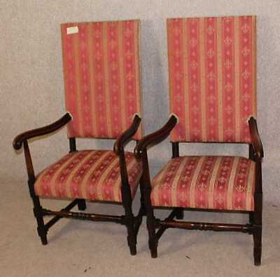 Good Pair of Oak Carver King Charles style Occasional Armchairs Upholstered.