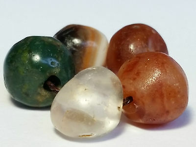 5 Ancient Rare Beads (Agate, Carnelian, Serpentine, Rock Crystal)