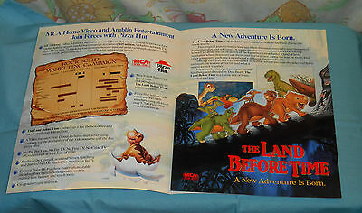 vintage THE LAND BEFORE TIME video store ADVERTISING BROCHURE