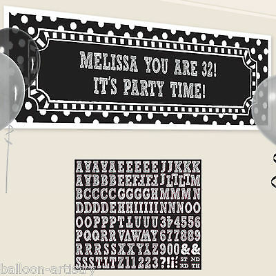 1.65m Classic Black & White Happy Birthday Party Personalisable Sign Banner