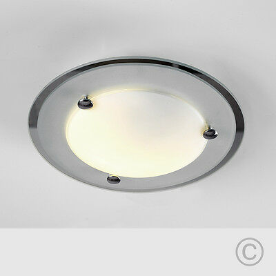 Modern Chrome  Frosted White Glass Round Flush Ceiling Light Fitting Lights NEW