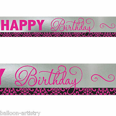 7.6m Stylish Black & Pink Happy Birthday Party Shimmer Foil Banner Decoration