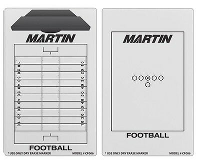 """NEW Martin Dry Erase 2 Sided Football Field Coaches Play Board & Marker 9""""x16"""""""