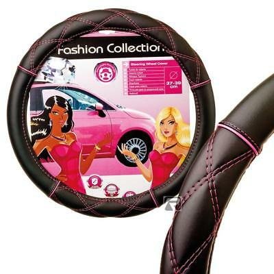 PINK CROSS STITCH & BLACK STEERING WHEEL COVER / GLOVE -UNIVERSAL Fits 37-39CM