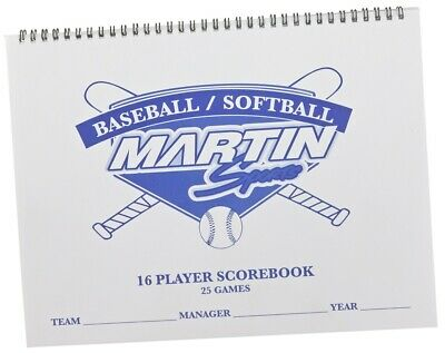 NEW Martin 16 Player, 25 Game Baseball Softball Game Scorekeepers Score Book