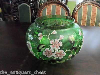 HANDPAINTED BOWL/PLANTER paneled green glass decorated with flowers [5