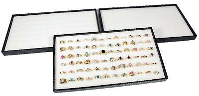 3 Ring Display Travel Trays Black Plastic Stackable 72 Slot White Jewelry Pads