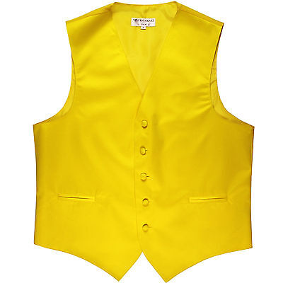New polyester men's tuxedo vest waistcoat only solid wedding party formal yellow