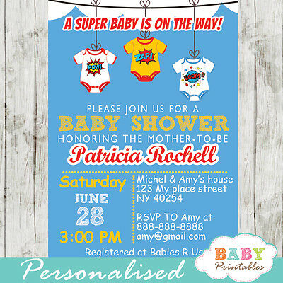 Comic Superhero Bodysuits Baby Shower Invitation - Printable Digital File
