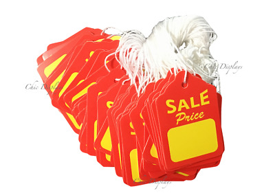 LOT OF 100 JEWELRY SALE SIGN SALE PRICE TAGS SALE SALE PRICE TAG w/STRING 1 7/8""