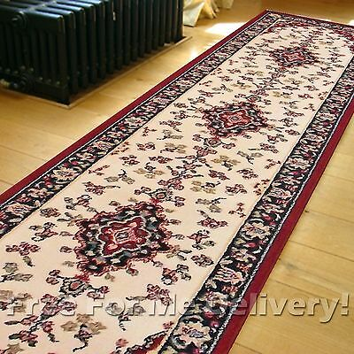 REIMS MEDALLION CREAM RED TRADITIONAL FLOOR RUG RUNNER 60x230cm **FREE DELIVERY*