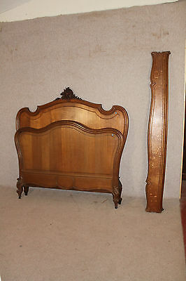 "Louis VX Carved Oak bed Rails Foot and Head Board.4ft 6"" Size."
