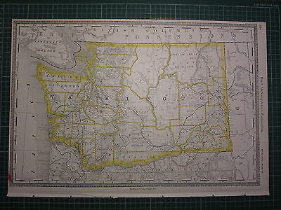 1890 Large Map Washington State County Railroad Excellent Condition Rand Mcnally