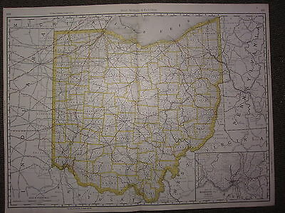 1890 Large Map ~ Ohio State County Railroad ~ Excellent Condition Rand Mcnally