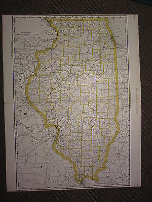 1890 Large Map ~ Illinois State County Railroad ~ Excellent Condition Mcnally
