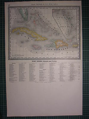 1890 Large Antique Map ~ West Indies Islands & Towns Cuba Jamaica ~ Rand Mcnally