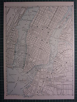 1890 City Map/Plan New York Railroad Steamboat Piers ~ Excellent Condition ~