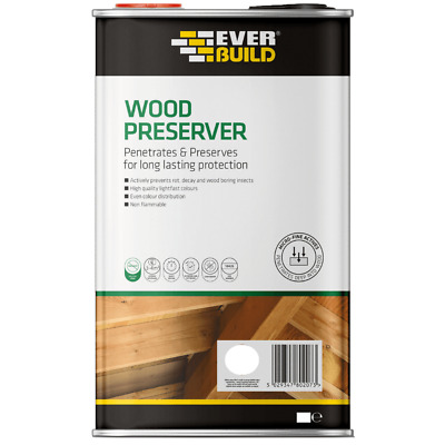 EVERBUILD LUMBERJACK CLEAR WOOD PRESERVER 5 & 1 L Litre Treatment Protection