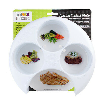 Meal Measure Portion Control Plate White Diet Weight Loss Healthy Eating Tool