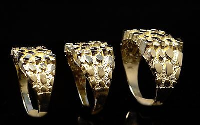 10K Nugget Solid Yellow Gold Mens Ring Any size Small Medium Large Men Women