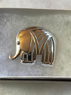 SMOOTH silver tone ELEPHANT open pendant for Necklace Excellent Condition