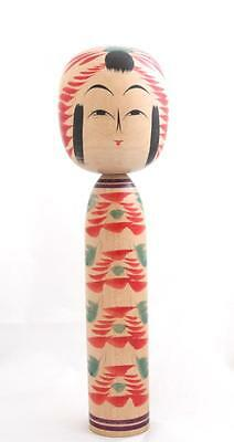 Japanese Kokeshi Doll Signed Handmade Hand Painted Authentic Wooden Vintage 25cm