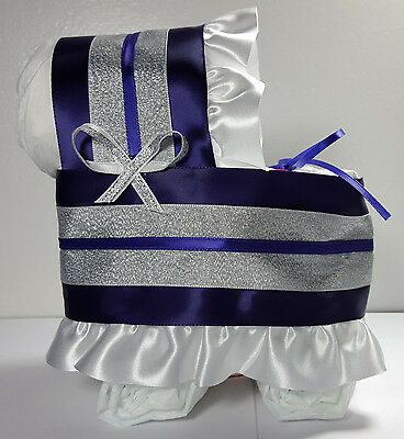 Diaper Cake Bassinet Carriage Baby Shower Gift Girls - Royal Purple and Silver