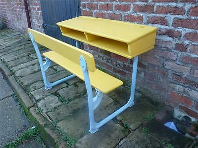 A Beautiful Antique Victorian Painted Iron & Wood Two Seater/Double School Desk