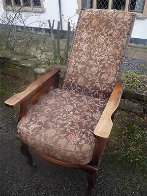Beautiful Antique Edwardian Unusual Reclining Chair Arts & Crafts Style Mahogany