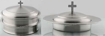 Stainless Steel Communion Tray set with Lid and Bread Plate with Lid(Brand New)