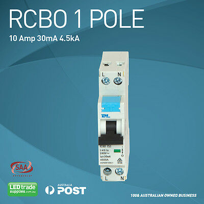 RCBO - Safety Switch, Circuit Breaker - 10Amp - 30mA - Australian Compliant - 1P
