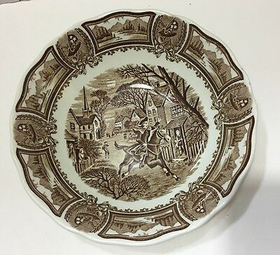 Vintage J & G Meakin Ironstone Soup Bowl  Americana Brown Style House Transfer