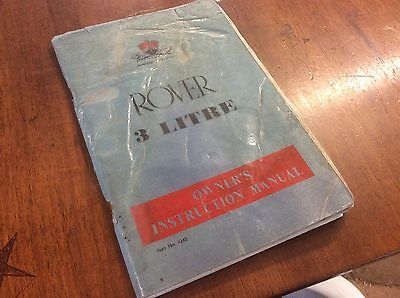 Rover 3 Litre Owners Instrution Manual