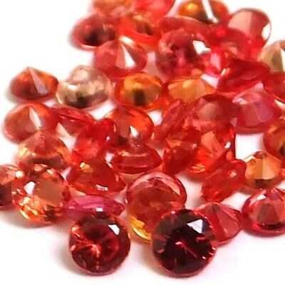 NATURAL EXCEPTIONAL FLAME RED SAPPHIRE LOOSE GEMSTONES (3 pieces) ROUND (2.1 mm)