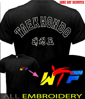 T-Shirt Mma Taekwondo All Embroidered Best For Training In Summer Heavier Cotton