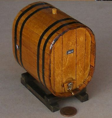1:12 Scale Large Oval Wooden 362L Wine Barrel On A Stand Dolls House Accessory