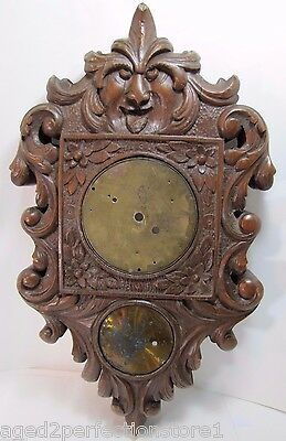 Antique Wooden Carved Evil Face Figural Wall Mount Art Clock Housing Plaque