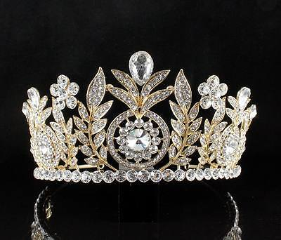 Floral Clear Austrian Crystal Rhinestone Hair Tiara Crown Wedding T12155G Gold