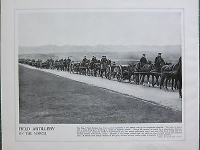 1915 Ww1 Print ~ Royal Field Artillery On The March