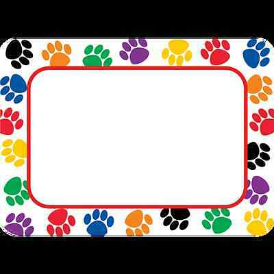 TCR Colorful Paw Prints NAME TAGS