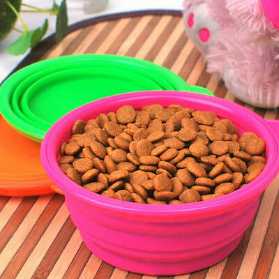 Dogs/Cat Pet Portable Silicone Collapsible Travel Feeding Bowl Water Dish Feeder